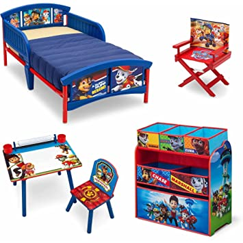 nick jr paw patrol 5 piece furniture kids set plastic toddler bed multi