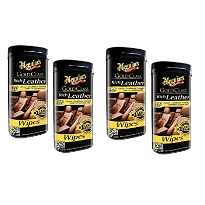 MEGUIAR'S G10900 Gold Class Rich Leather, 25 Wipes, Sold as 4 Pack: Automotive
