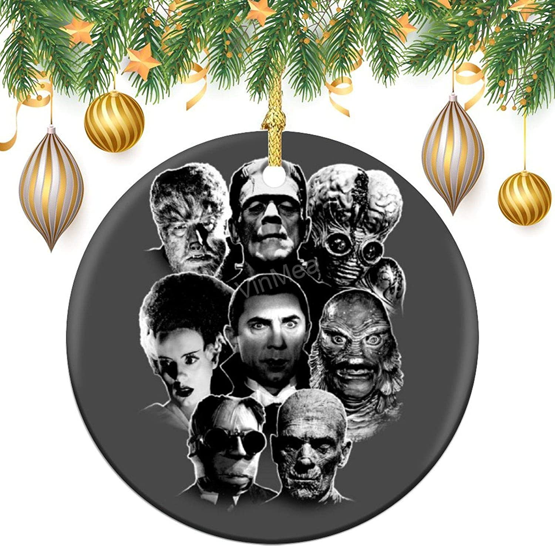 VinMea Round Ornaments - Ceramic Ornament Universal Monster Gang Holiday Christmas Ornament  Santa Gift  Xmas Tree Decoration