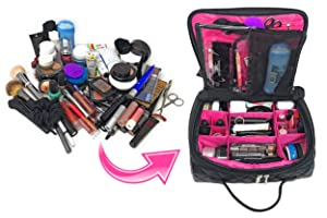 Cosmetic Travel Bag Makeup Large Organizer with Compartments and Brush Holders in Quilted Vegan Faux Leather