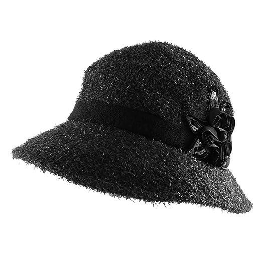 60c7a4abebc Shaggy Dressy Cloche Bucket Packable Warm Winter Hat with Flower Trim -  Black