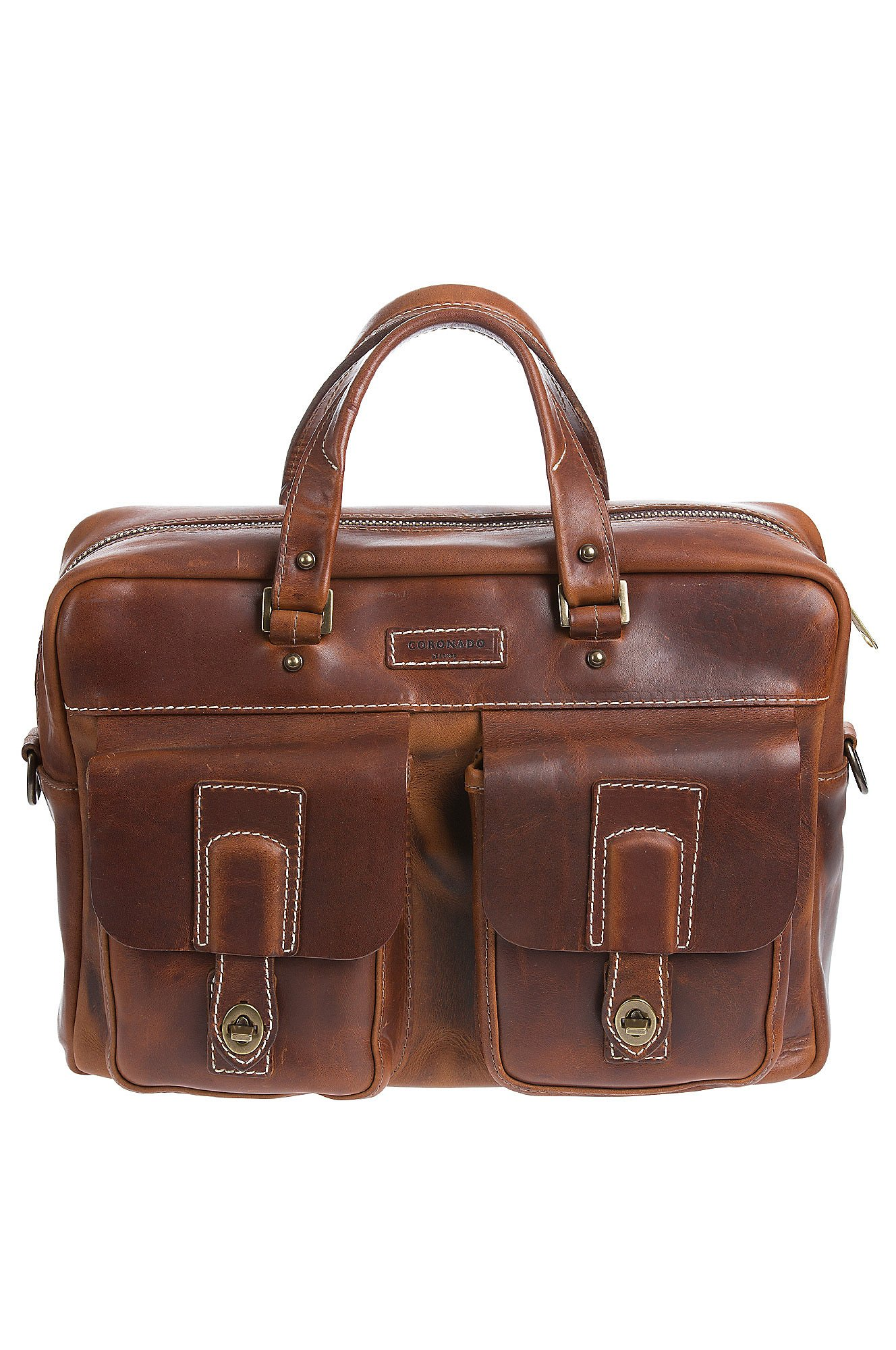 Americana CEO Leather Briefcase with Concealed Carry Pocket, CHESTNUT, Size 1 Size