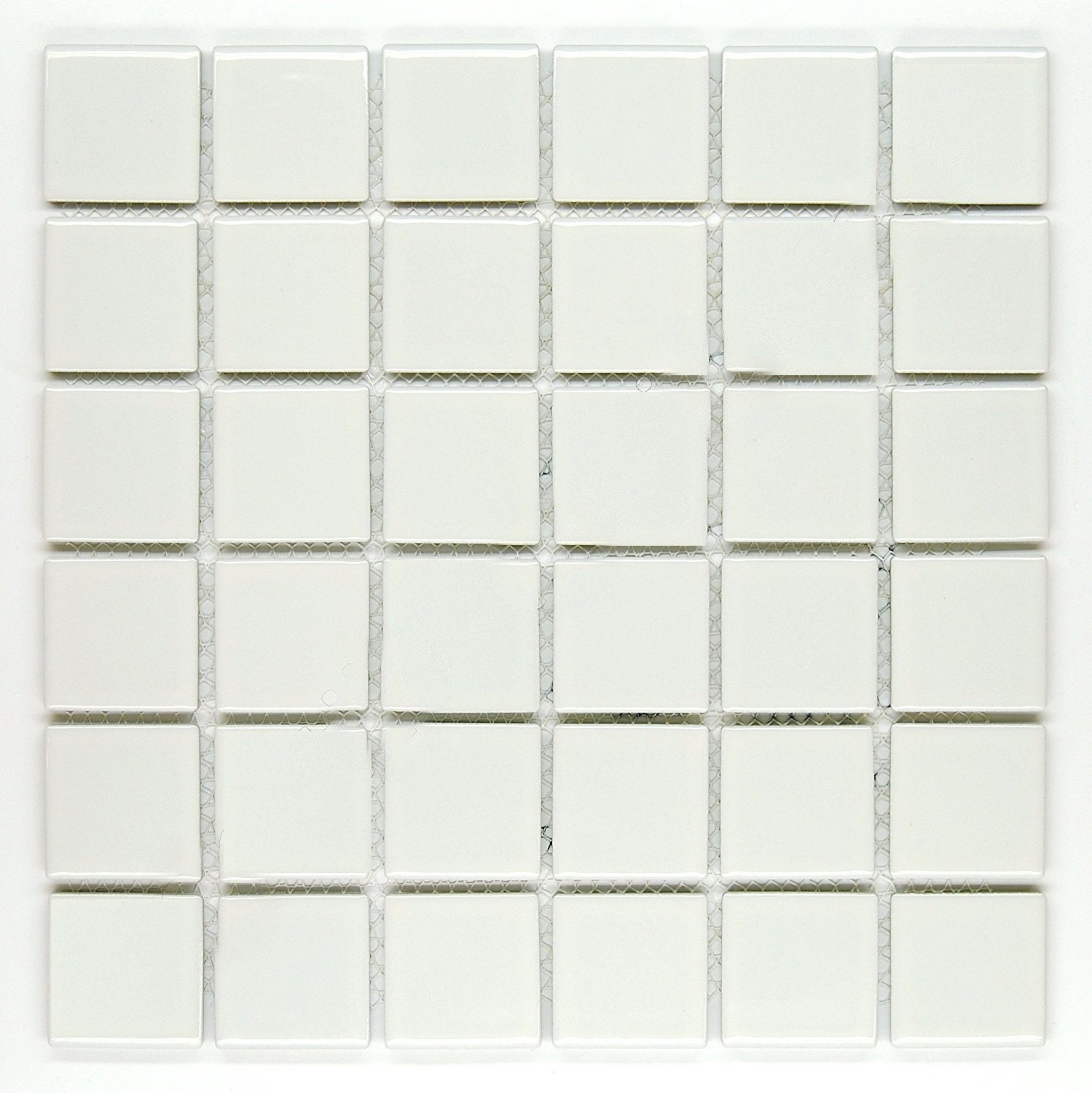 Vogue Premium Quality 2'' White Porcelain Square Mosaic Tile Shiny Look Designed In Italy (12x12)