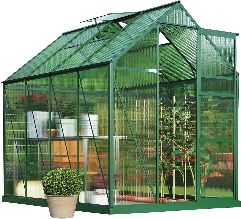 Policarbonato jardín invernadero invernadero desmontable de gran tamaño, marco de acero reforzado, puerta corredera y apoyo de la claraboya 2 paneles de pared con base de acero de jardín crecer: Amazon.es: Jardín