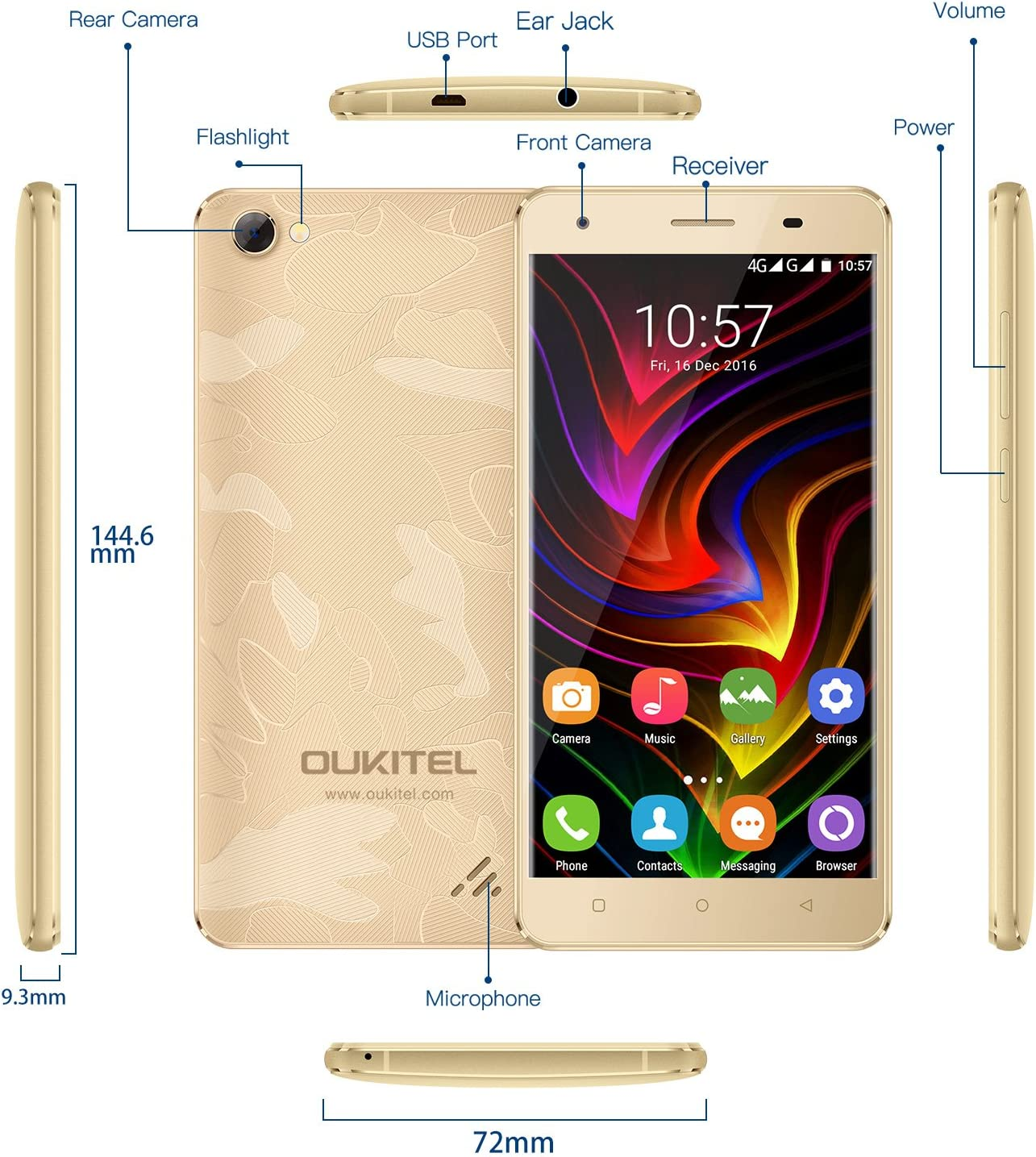 OUKITEL C5 Pro - Telefonos Móvil 4G Smartphone Libre, 5,0 Pulgadas ...