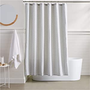 AmazonBasics Grey Herringbone Shower Curtain - 72 Inch