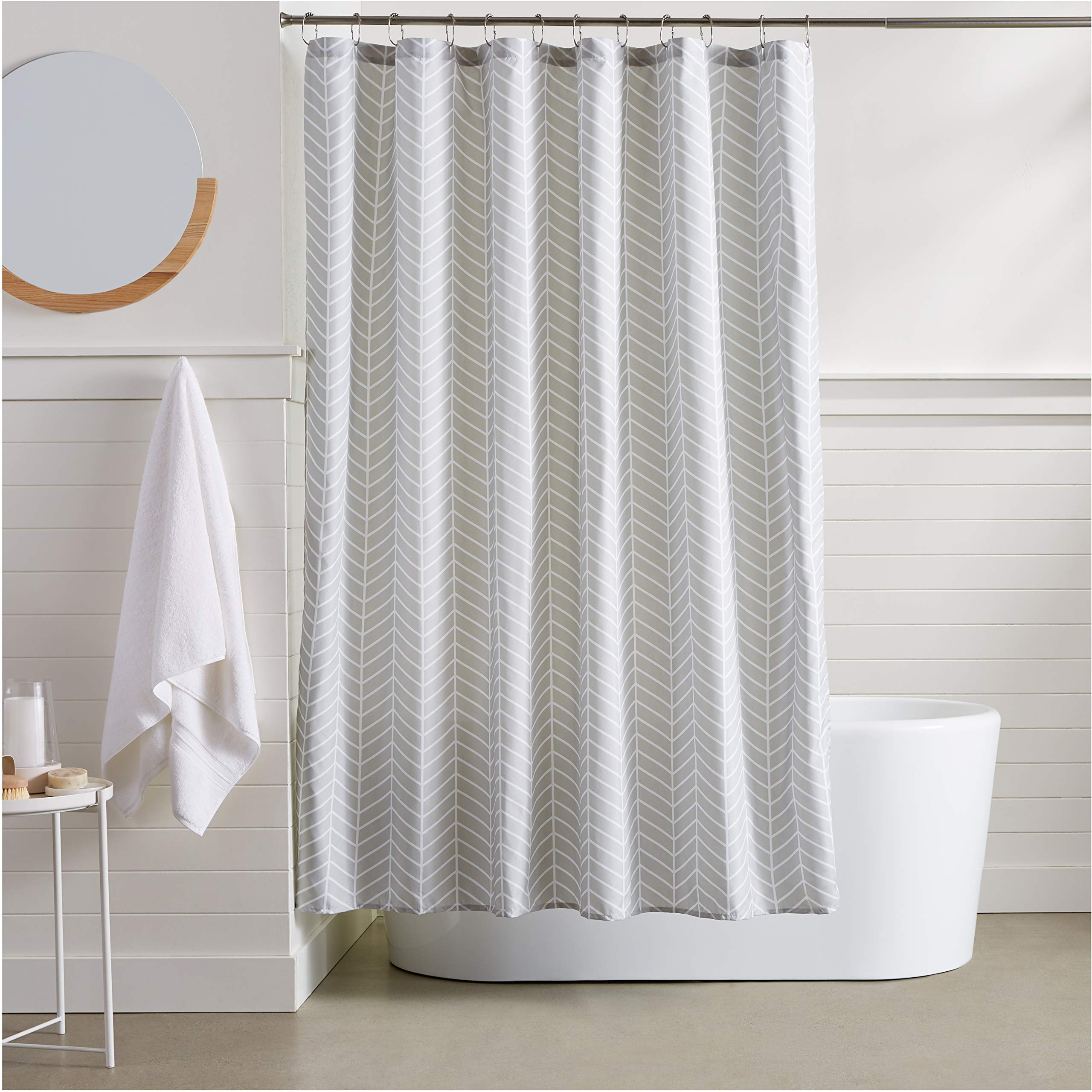 AmazonBasics Grey Herringbone Shower Curtain - 72 Inch by AmazonBasics