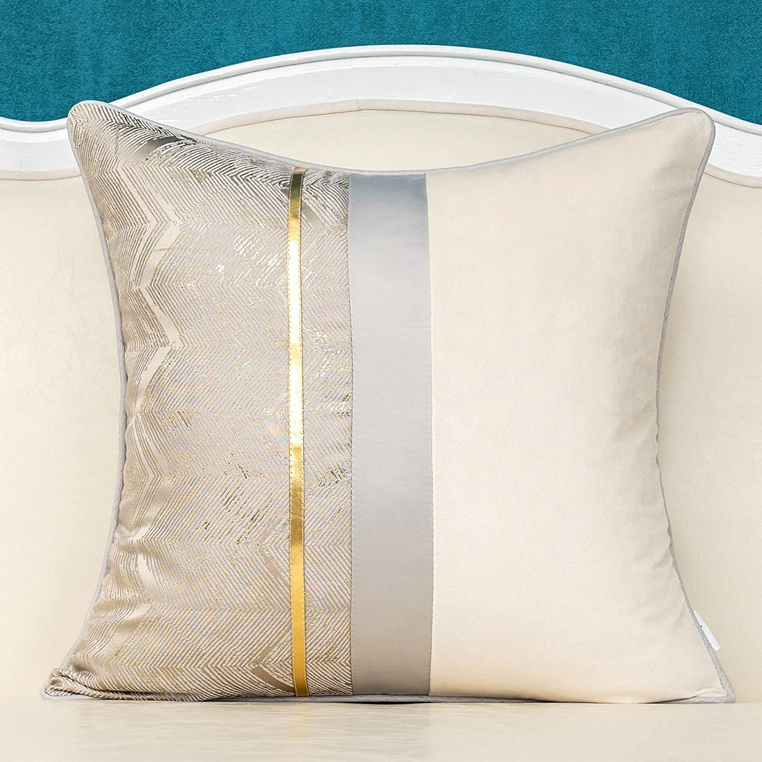 Alerfa 20 x 20 Inch Silver Gray White Geometric Striped Gold Leather Patchwork Velvet Cushion Case Luxury Modern Lumbar Throw Pillow Cover Decorative Pillow for Couch Sofa Living Room Bedroom Car