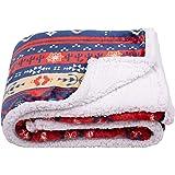 SOCHOW Bohemian Sherpa Fleece Throw Blanket, Fuzzy Warm Super Soft Reversible Boho Stripe Plush Blanket for Bed, Sofa and Cou