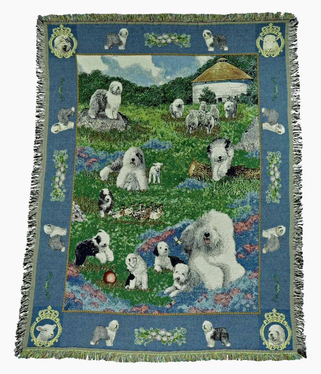Gone Doggin Old English Sheepdog Blanket Throw # 1 – Exclusive犬アートinタペストリーfor Dog Lovers B00JAW3DD0