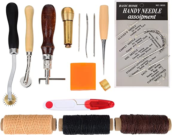 ULTECHNOVO Leather Sewing Awl Tools Needles Upholstery Hand Sewing Needles DIY Leather Craft Tools 5PCS
