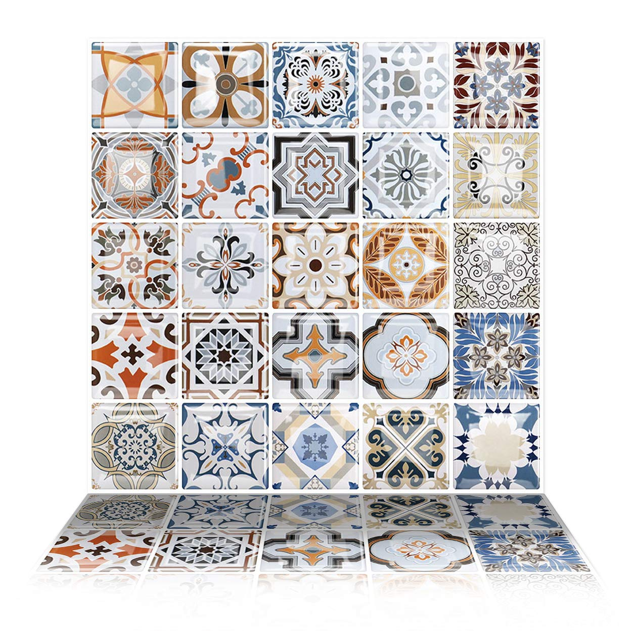 Tic Tac Tiles - Premium Anti Mold Peel and Stick Wall Tile Backsplash in Moroccan Design (Caro, 6)