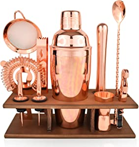 Bartender Kit Copper 11 Piece - Copper Parisian Cocktail Mixology Set - Rose Gold Shaker With Muddler, Pourers, Strainer & Twisted Bar Spoon