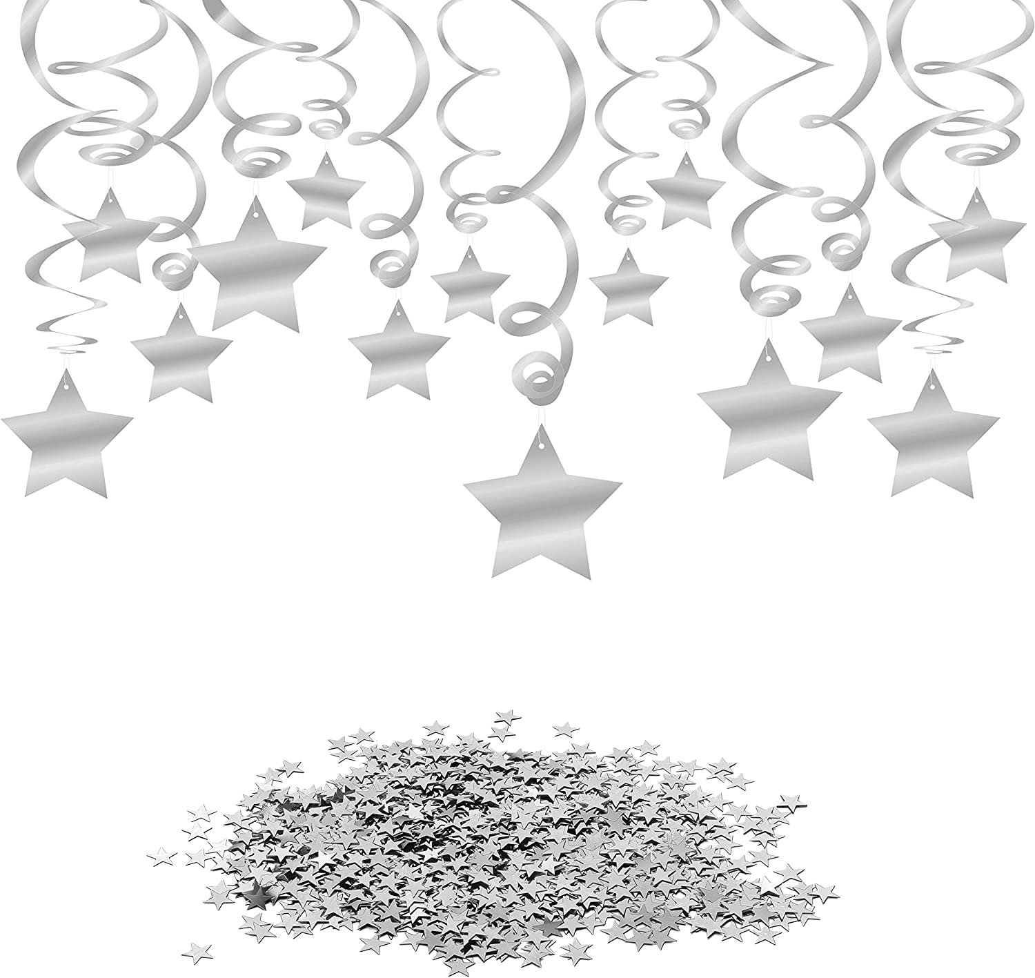 Konsait Hanging Swirl Silver Decorations(30 Counts) Silver Star Table Confetti(15 Gram), Silver Hanging Party Supplies for Wedding Shower Birthday Party Table Decor Twinkle Twinkle Baby Shower