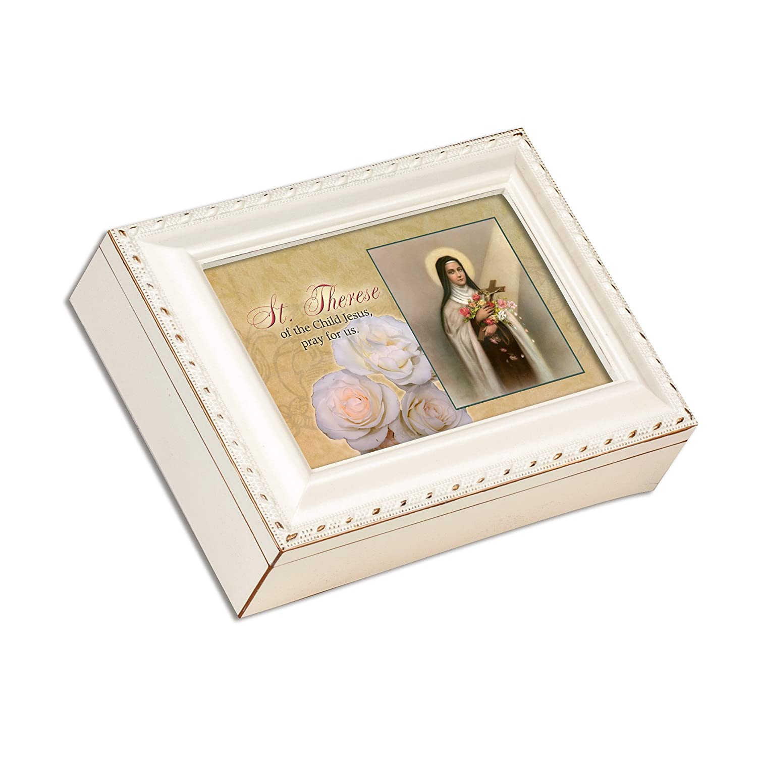 Cottage Garden Madonna of The Streets Ivory Gold Trim Jewelry Music Box Plays Ave Maria