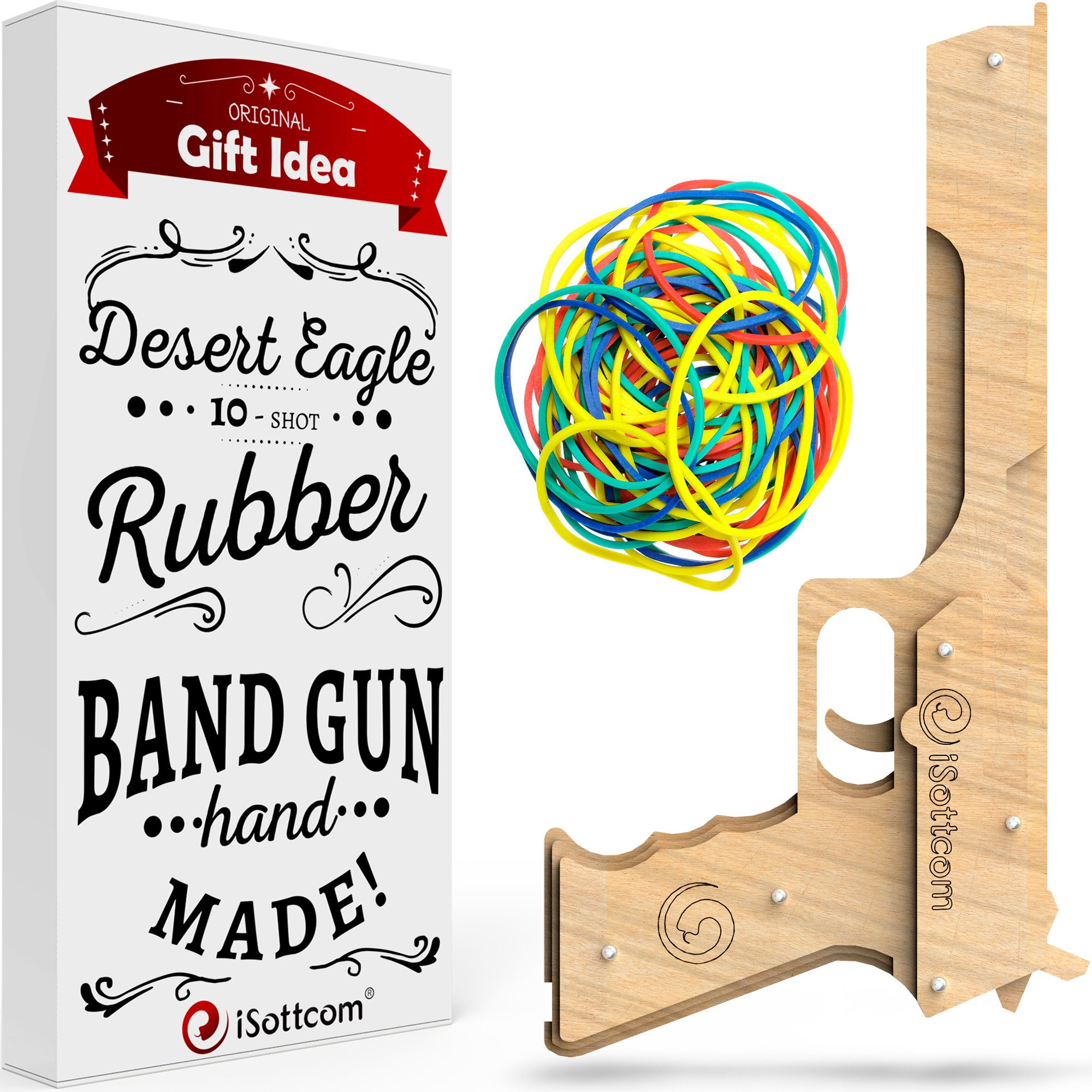 iSottcom Rubber Band Gun - Toy Gun Desert Eagle - Boys Toys for Outdoor Indoor Game - Wooden Toy Guns - Best Present for Men - Wooden Pistol for Shooting Game - Kids Toys for Pretend Play by iSottcom