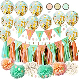 Mint Peach Birthday Party Decorations by Qian's Party Glitter Gold Polka Dot Pom Pom Mint Peach Gold Confetti Balloons for Girl Wild One Birthday Decorations Peach Mint Happy Birthday Banner