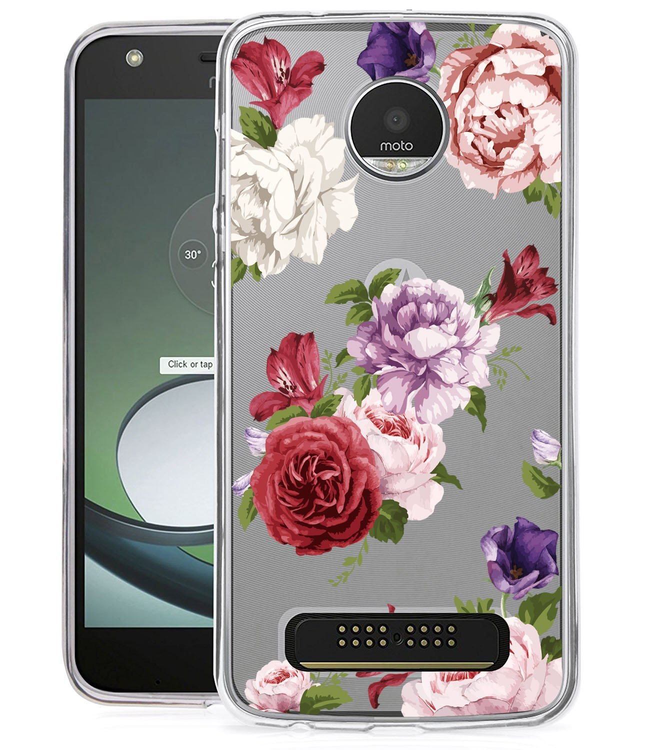 Moto Z2 Play Case, Moto Z2 Force Case with Flowers BAISRKE Slim Shockproof Clear Floral Pattern Soft Flexible TPU Back Cove for Moto Z2 Play/Z2 Force [Purple Pink] 4334973594