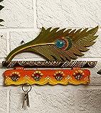 JaipurCrafts Beutiful Mor Pankhi Wooden Key Holder