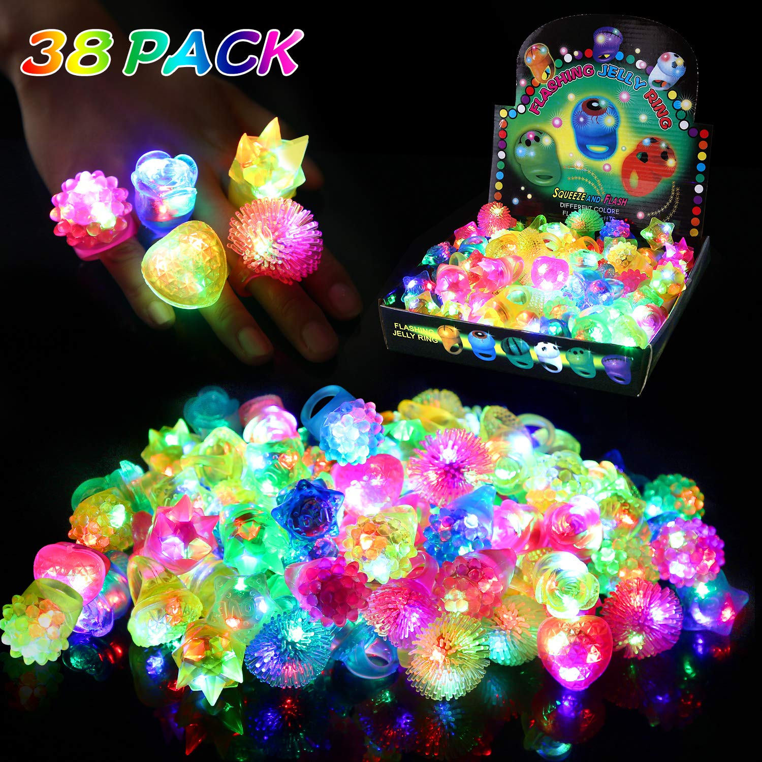 wellvo 38 Pack Light up Rings Party Favors for Kids Flashing Led Toys Glow in The Dark Party Supplies Goody Bag Stuffers by wellvo