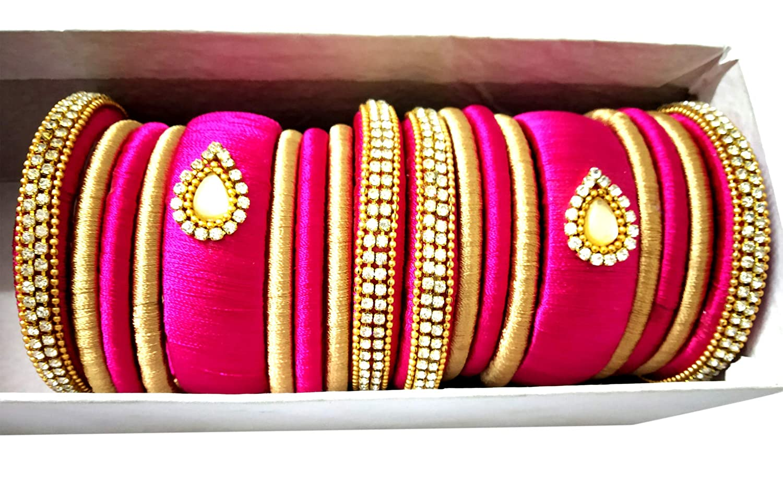 GOELX Festive Offer Silk Thread Bangles Designer Handmade Pink and Gold Rhinestone Embellished Bangles Set