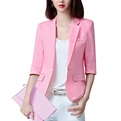 Shyvelvet Women S 3 4 Short Sleeve Blazer Jacket Solid Color Single