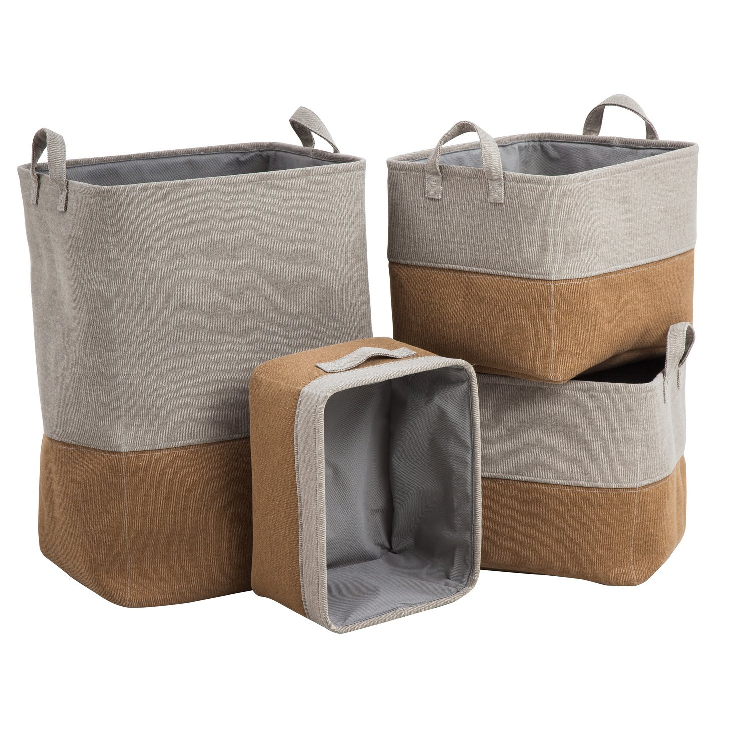 Cape Craftsmen Grey and Brown Cotton Nested Storage Baskets