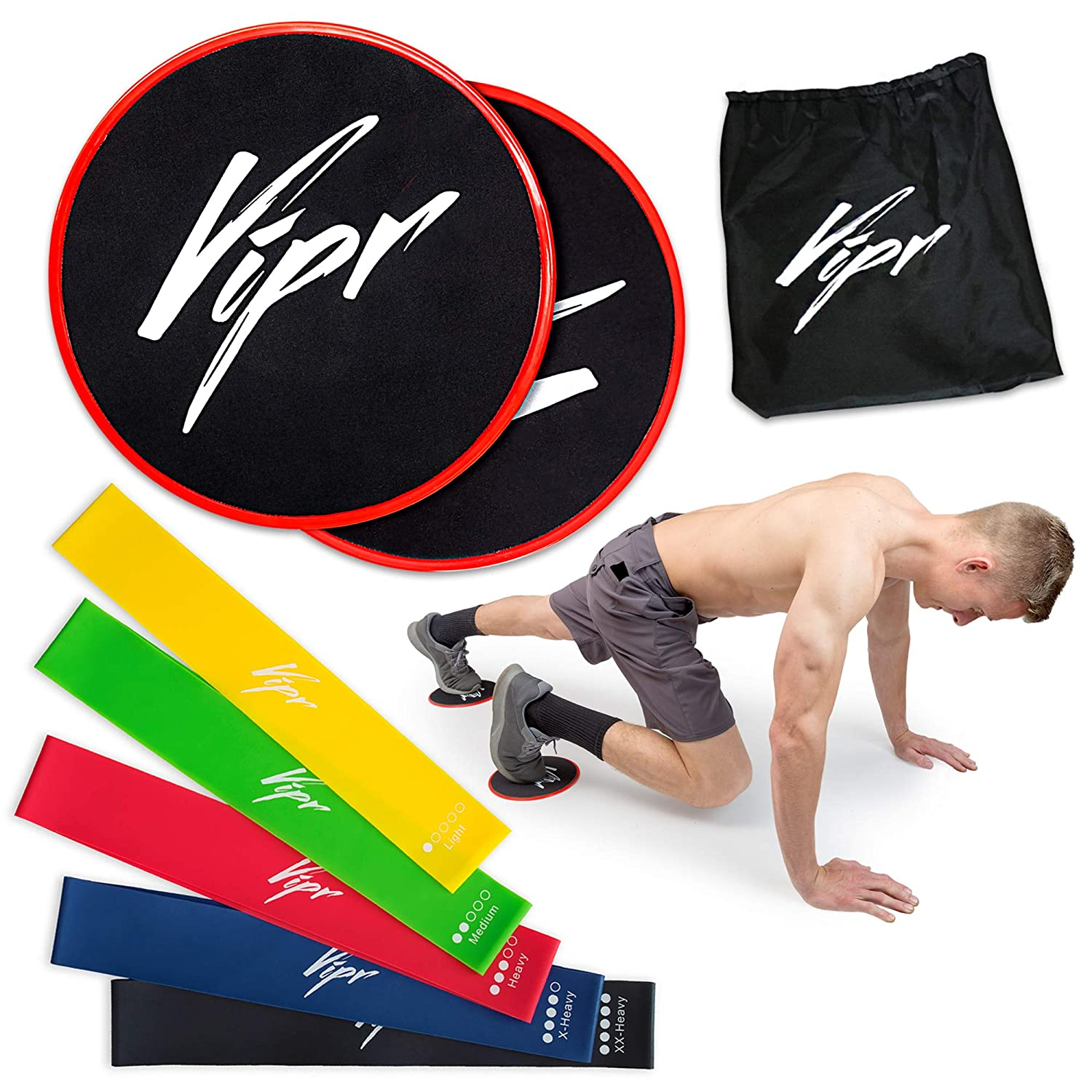 Core Sliders 5 Resistance Loops Bands Gliding Discs Exercise Band Set for Intense Exercises Professional Beachbody 80 Day Obsession Equipment for Home Gym Build Strength Flexibility
