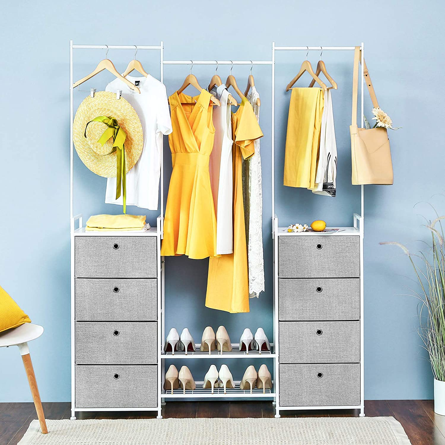 SONGMICS Multifunctional Drawer Dresser with Clothes Rack Storage Tower with Metal Frame Wooden Tops Gray ULTS04G-2 Hallway Shoe Rack Storage Unit for Closet 8 Fabric Drawers
