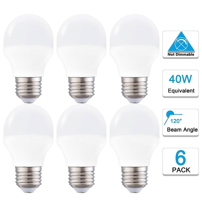 Brigtest 4 Watt Decorative A15 LED Bulb, Daylight White 5000K Medium E26 Standard Base,40 Watt LED Light Bulb Equivalent,Not-Dimmable for Ceiling Fan lighting, Refrigerators 6 pack