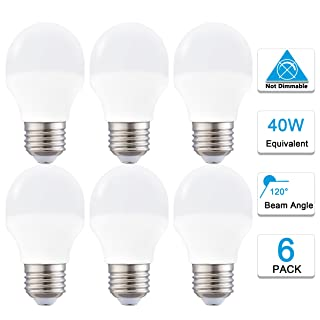 A15 Led Bulb Daylight 5000K 4W Refrigerator Led Light Bulb 40 Watt Equivalent, Energy Saving A15 E26 Led Bulb 400LM Not-Dimmable, Pack of 6