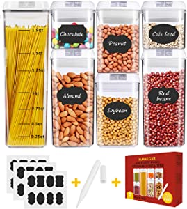 Airtight Food Storage Containers,MASSUGAR 7 Piece Food Storage Container + 24 Chalkboard Labels & Chalk Marker - Organization Containers for Kitchen Food Grade Durable BPA Free Cereal Containers
