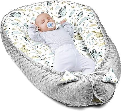 Baby nest Sleep pod Portable Bed for Baby Newborn Gray Stars on White, 90 x 50 cm