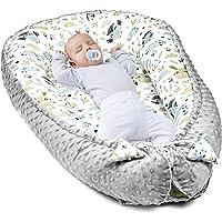 Baby-bo sovpund – bärbar säng för nyfödd bebis (grå minky med grå-vit bomull, 90x50 cm)