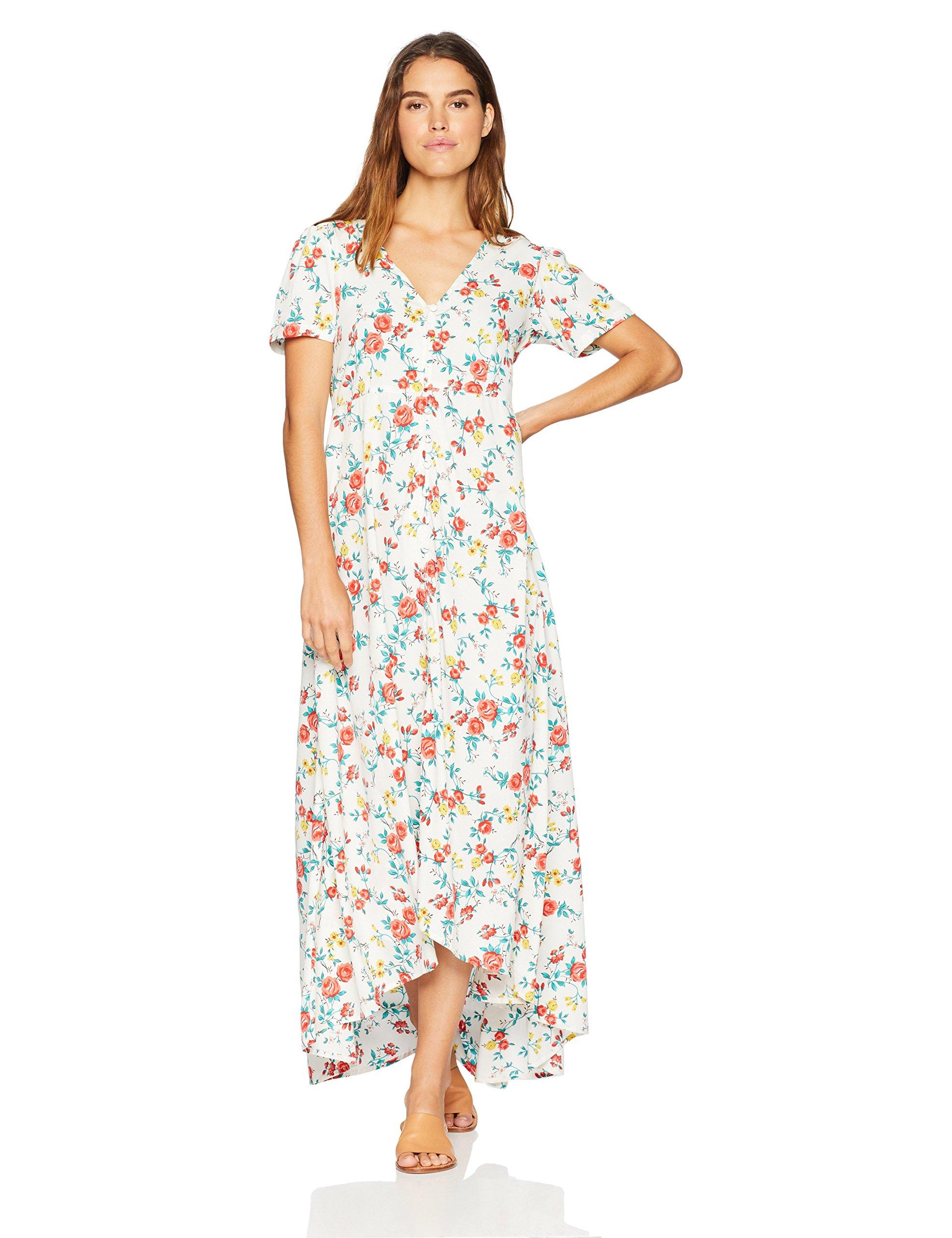 c64e7c0b8b Wild Oasis Beachwear Women's Short Sleeves Floral Printed Maxi Dress with  Button Detailing & Slit X-Large White