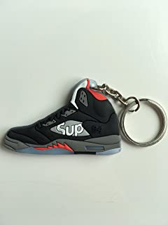 new style 4dd2c 1bd5f Jordan Retro 5 X Supreme Black Sneaker Keychain Shoes Keyring AJ 23 OG