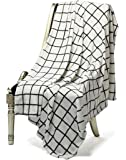 "Bertte Ultra Velvet Plush Super Soft Decorative Throw Blanket-50""x 60"", Black& White Plaid"