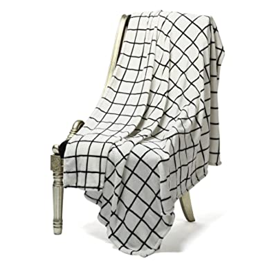 Bertte Ultra Velvet Plush Super Soft Decorative Throw Blanket-50 x 60 , Black& White Plaid