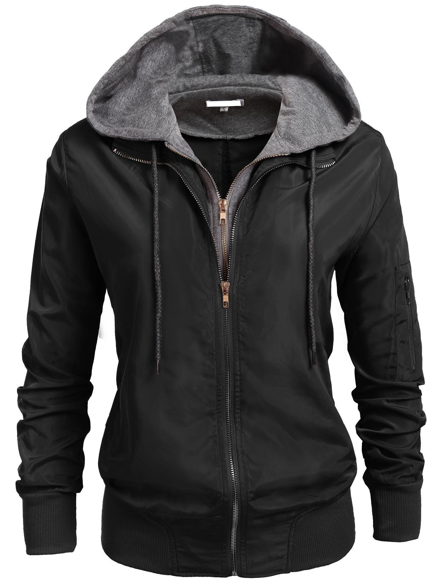 SoTeer Womens Zip Up Motorcycle Short Jacket with Hoodie Black XXL