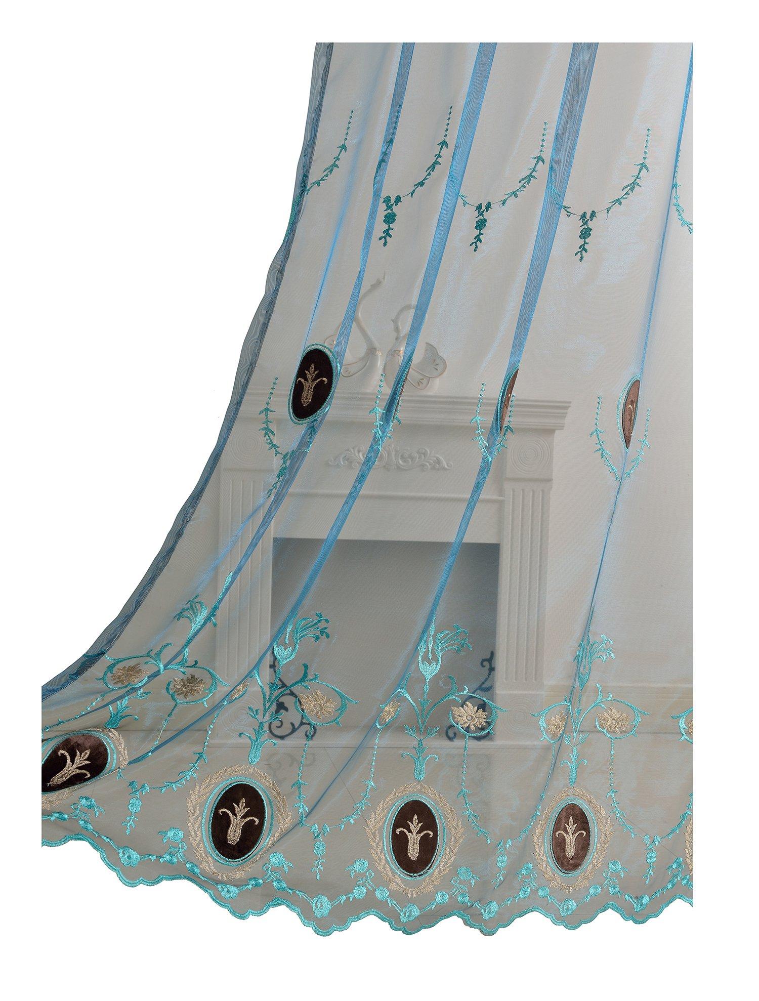 Aside Bside Vines Embroidered Sheer Curtains Velvet Added Rod Pocket Top Elegant Design (1 Panel, W 52 x L 63 inch, Blue 5) -128164052638505C1PGC