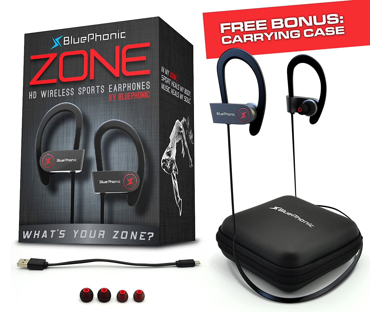 BluePhonic Wireless Sport Bluetooth Headphones, Hd Beats Sound Quality,  Sweat Proof Stable Fit in Ear Workout Earbuds, Ergonomic Running Earphones,