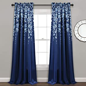 "Lush Decor, Navy Weeping Flowers Room Darkening Window Panel Curtain Set (Pair), 84"" x 52, 84"" x 52"""