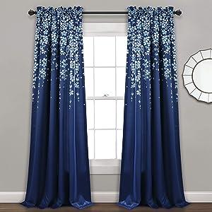 "Lush Decor, Navy Weeping Flowers Room Darkening Window Panel Curtain Set (Pair), 95"" x 52, 95"" x 52"""