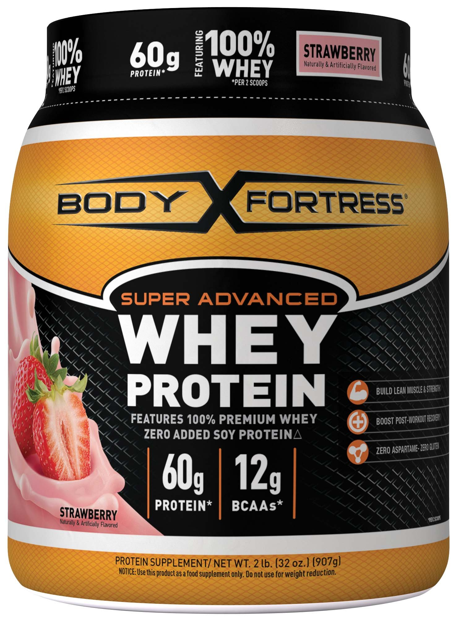 Body Fortress Super Advanced Whey Protein Powder, Gluten Free, Strawberry, 2 lbs