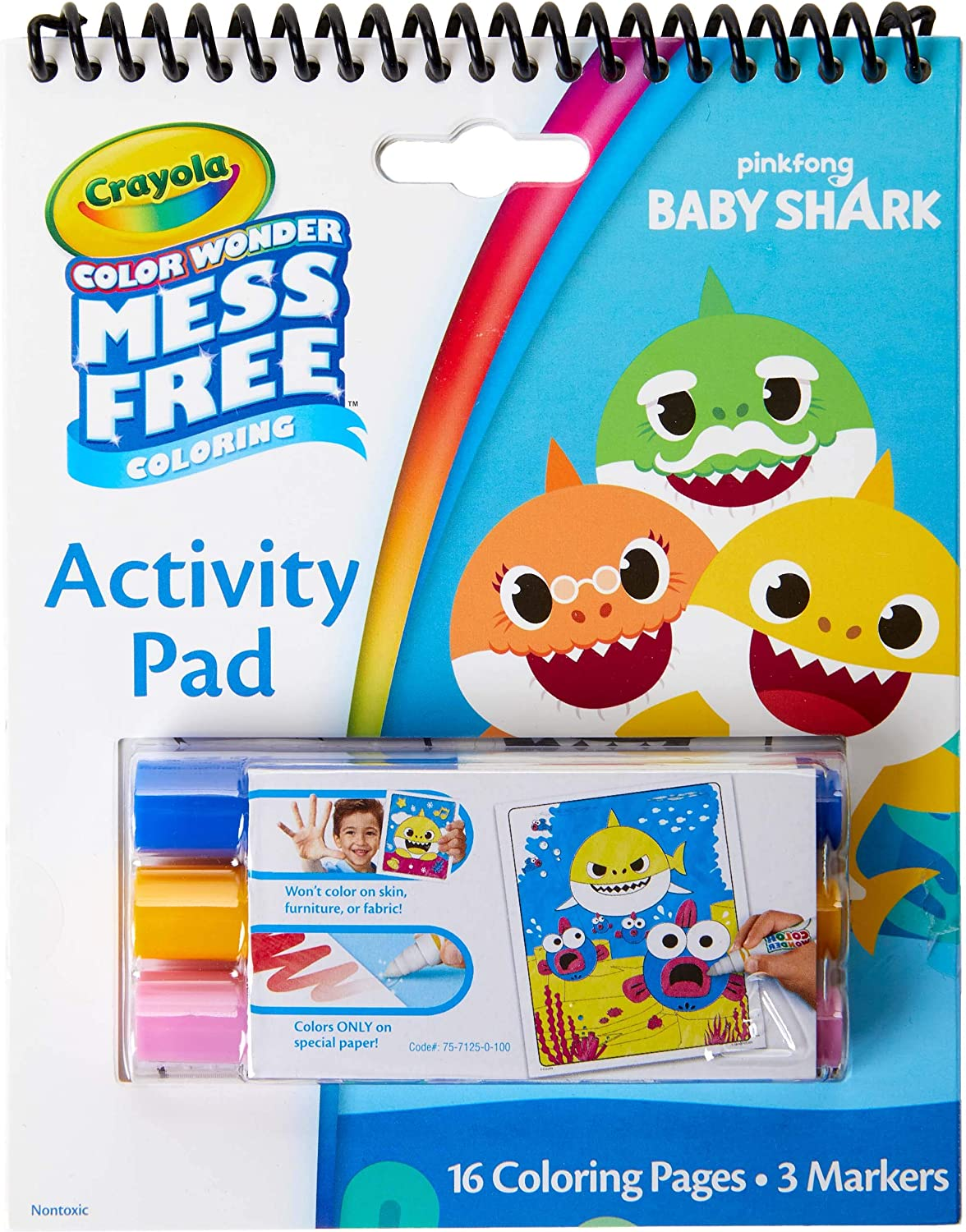 Crayola Baby Shark Color Wonder Travel Activity Pad, Mess Free Coloring,  Gift for Kids, 18, 18, 18, 18