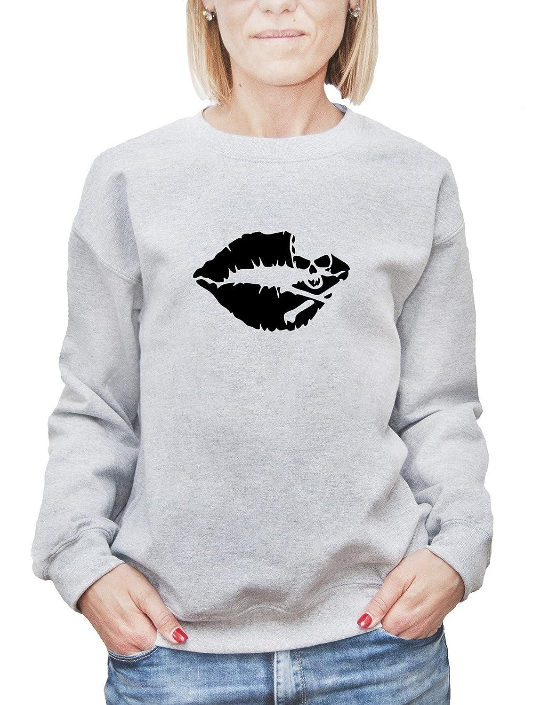 Mesdames Sweatshirt avec Lips With a Skull Graphic Illustration imprimé.