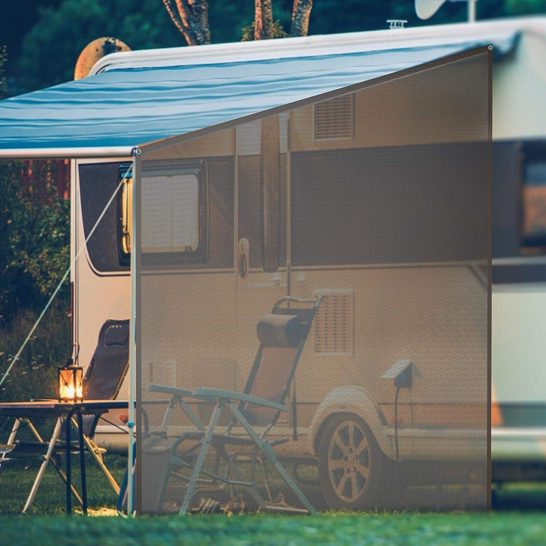 Goplus RV Awning Side Sun Shade, 9' x 7' Black Mesh Sunshade Screen with Complete Kits, Motorhome Camping Trailer Canopy, Outdoor Sun Blocker Net Side Shade