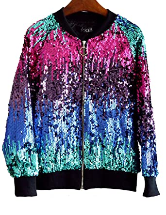 f8e3a154c62 LRT Womens Sequins Bomber Jacket Multi Color Dancing Jacket (Free Size