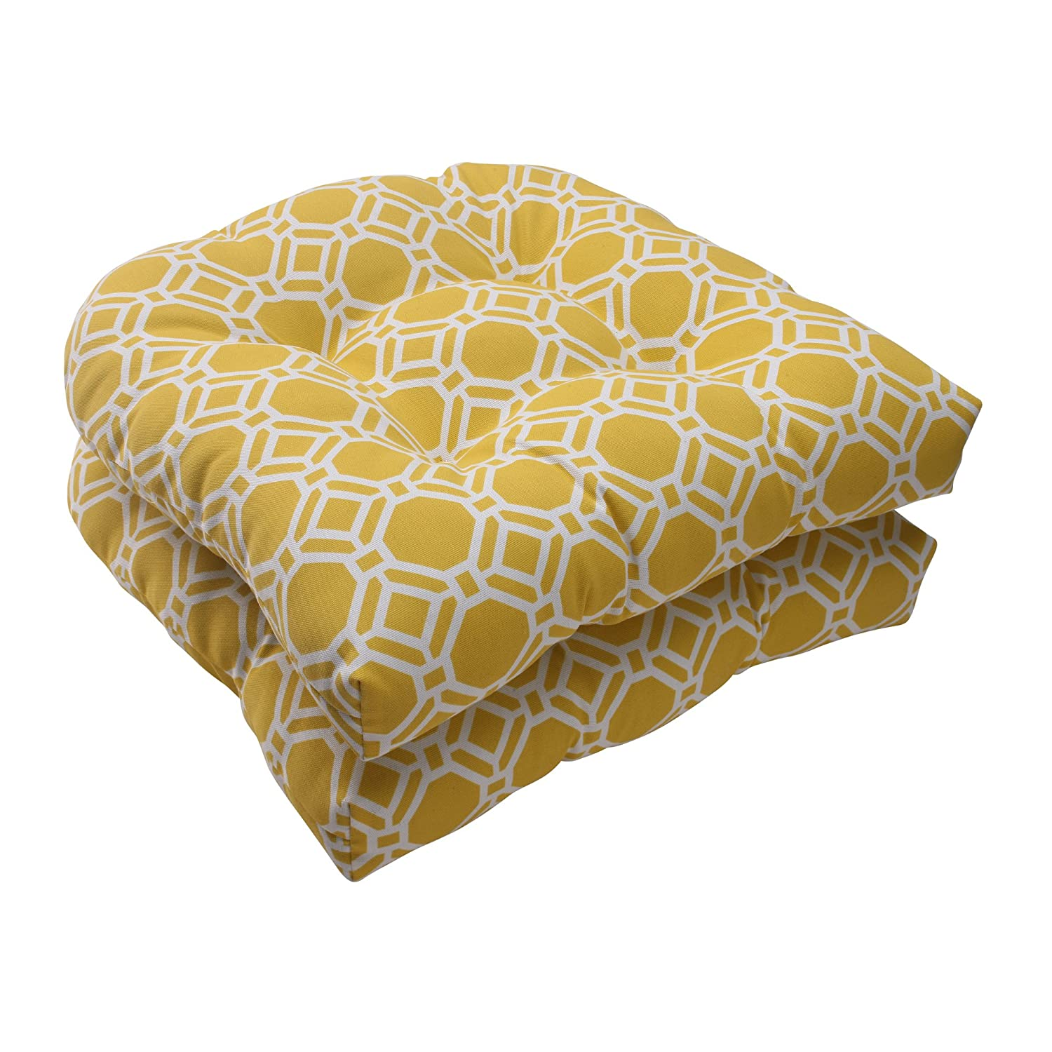 Pillow Perfect Outdoor Rossmere Wicker Seat Cushion, Yellow, Set of 2