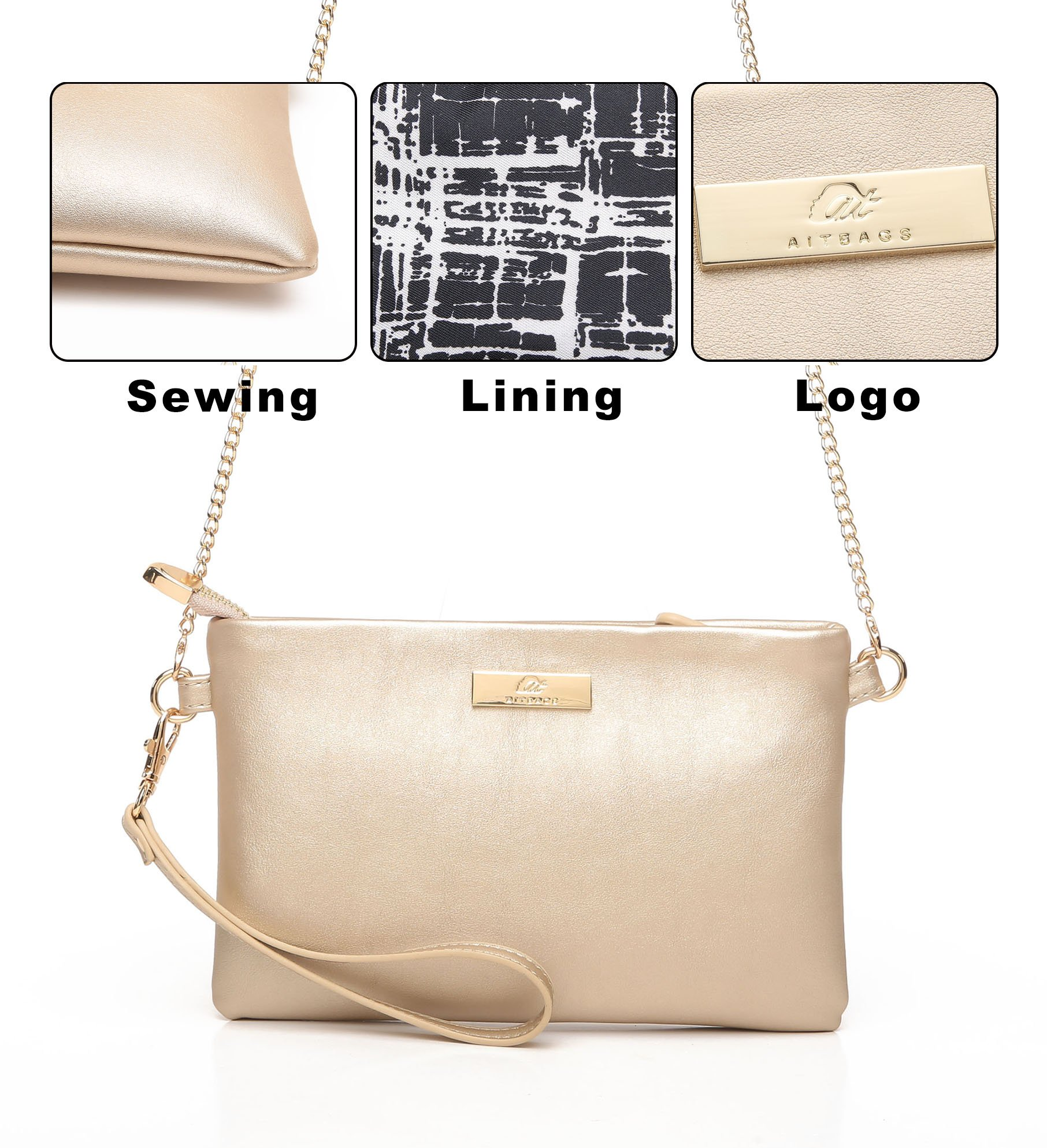Aitbags Soft PU Leather Wristlet Clutch Crossbody Bag with Chain Strap Cell Phone Purse by Aitbags (Image #5)